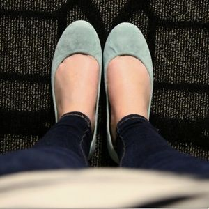 J Crew Anya Suede Flats in Mint Made in Italy 8.5